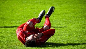 Injured sports player